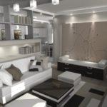Начальный этап дизайнерского оформления однокомнатной квартиры.