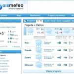 Погода на сайте Gismeteo.pl.